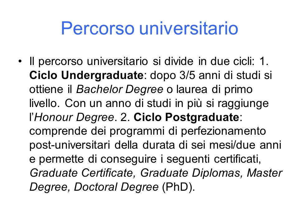 Percorso universitario Il percorso universitario si divide in due cicli: 1. Ciclo Undergraduate: dopo 3/5 anni di studi si ottiene il Bachelor Degree