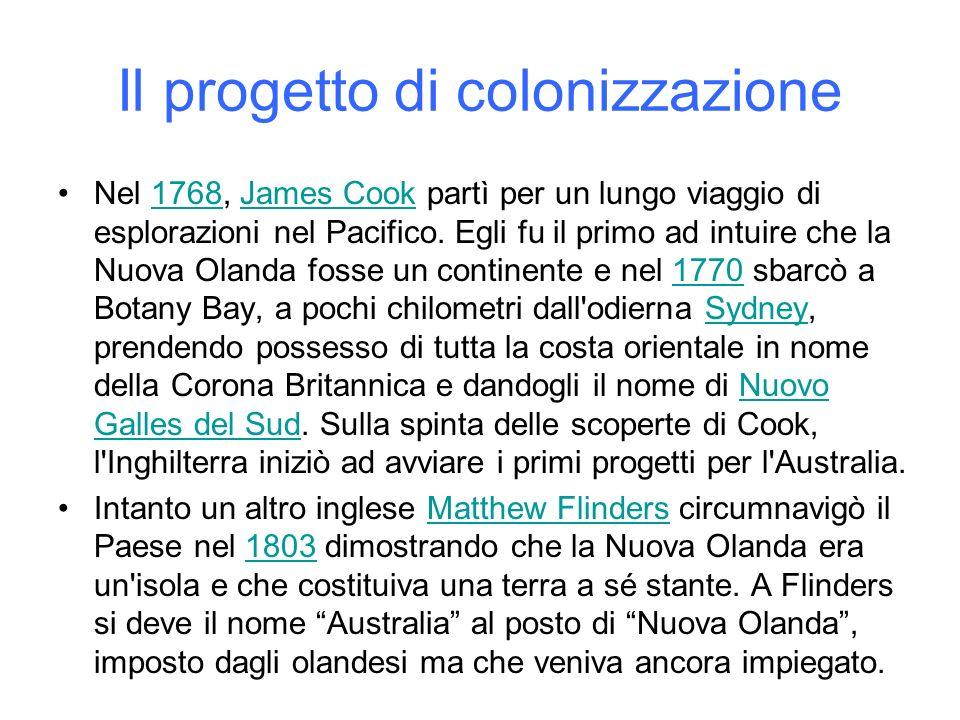 Il progetto di colonizzazione Nel 1768, James Cook partì per un lungo viaggio di esplorazioni nel Pacifico. Egli fu il primo ad intuire che la Nuova O