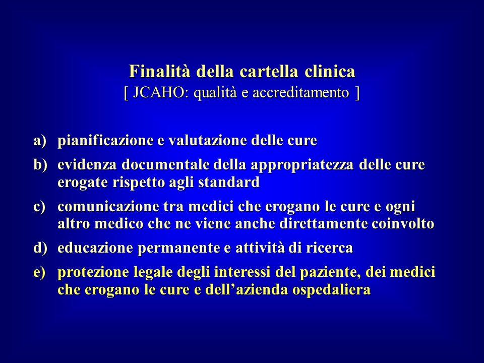 Finalità della cartella clinica [ JCAHO: qualità e accreditamento ] a)pianificazione e valutazione delle cure b)evidenza documentale della appropriate