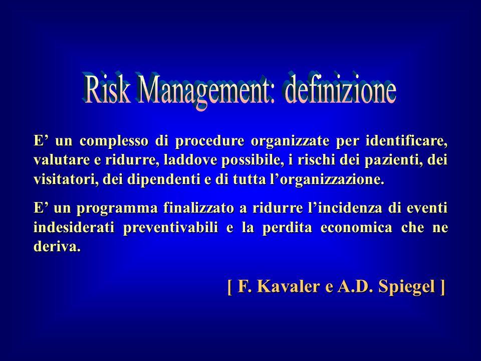 E un complesso di procedure organizzate per identificare, valutare e ridurre, laddove possibile, i rischi dei pazienti, dei visitatori, dei dipendenti