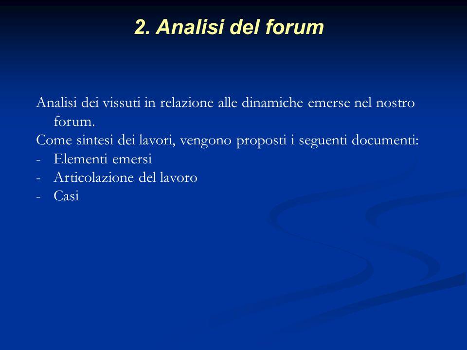 2. Analisi del forum Analisi dei vissuti in relazione alle dinamiche emerse nel nostro forum.