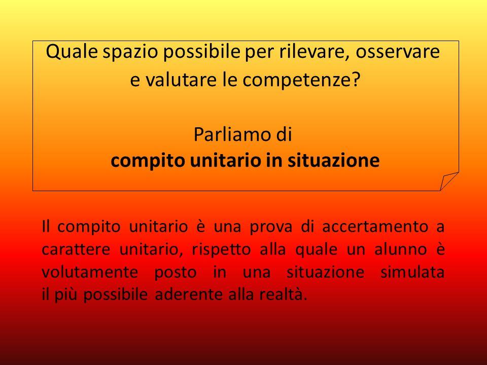 Il compito unitario è una prova di accertamento a carattere unitario, rispetto alla quale un alunno è volutamente posto in una situazione simulata il più possibile aderente alla realtà.