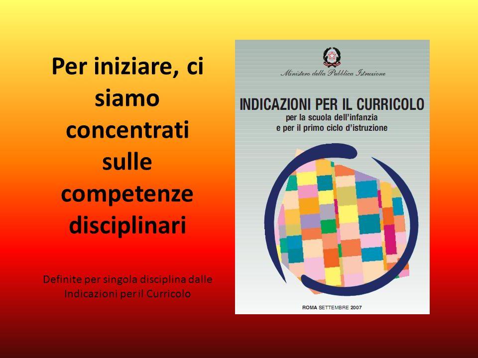 Per iniziare, ci siamo concentrati sulle competenze disciplinari Definite per singola disciplina dalle Indicazioni per il Curricolo