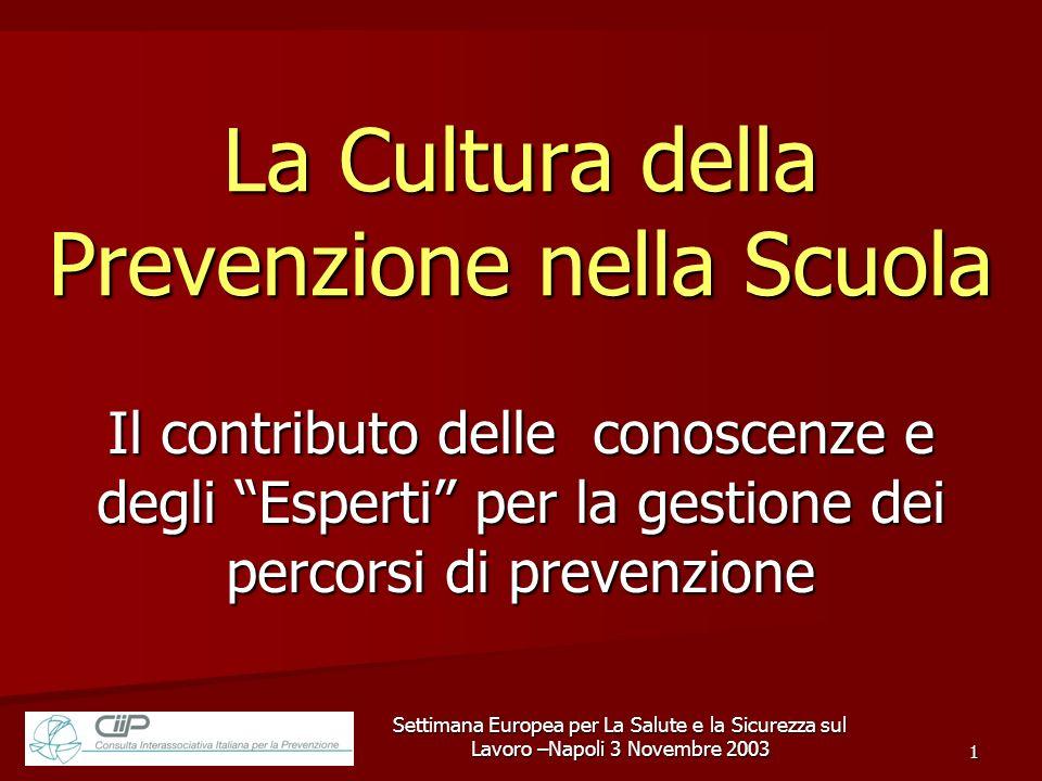 Settimana Europea per La Salute e la Sicurezza sul Lavoro –Napoli 3 Novembre 2003 1 La Cultura della Prevenzione nella Scuola Il contributo delle cono