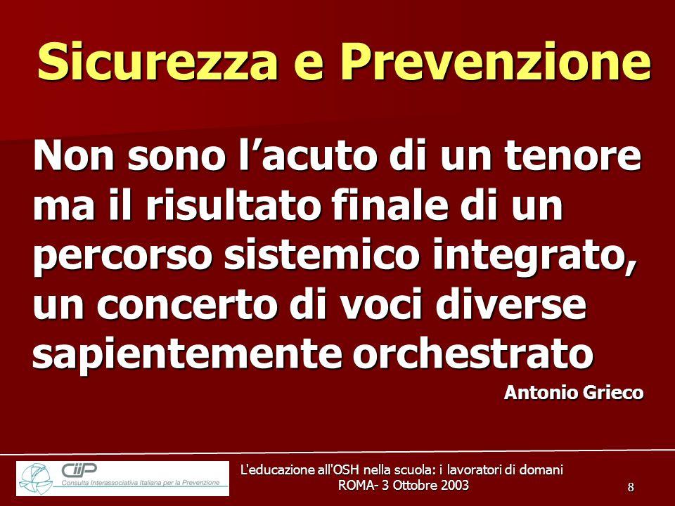 L'educazione all'OSH nella scuola: i lavoratori di domani ROMA- 3 Ottobre 2003 ROMA- 3 Ottobre 2003 8 Non sono lacuto di un tenore ma il risultato fin