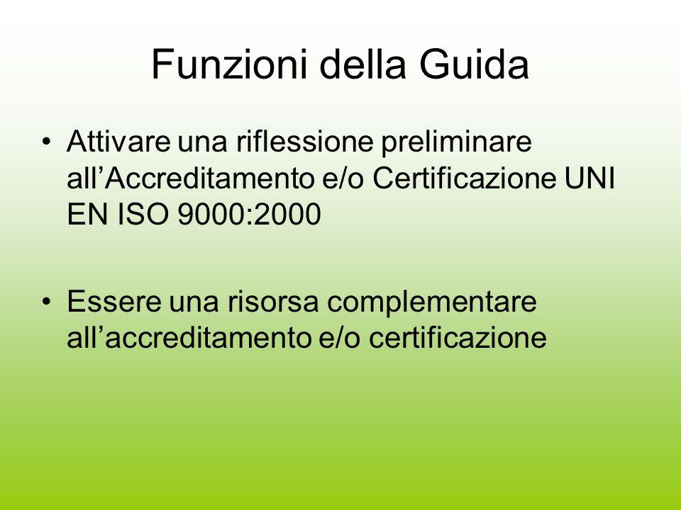 Funzioni della Guida Attivare una riflessione preliminare allAccreditamento e/o Certificazione UNI EN ISO 9000:2000 Essere una risorsa complementare allaccreditamento e/o certificazione
