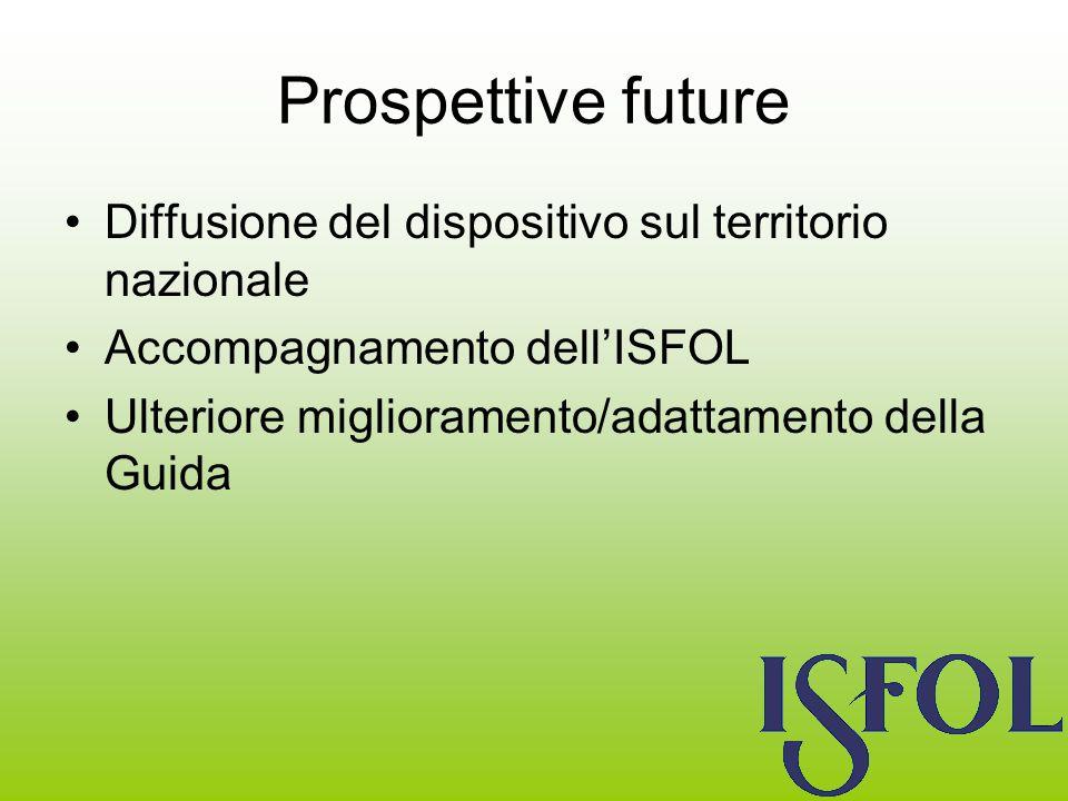 Prospettive future Diffusione del dispositivo sul territorio nazionale Accompagnamento dellISFOL Ulteriore miglioramento/adattamento della Guida