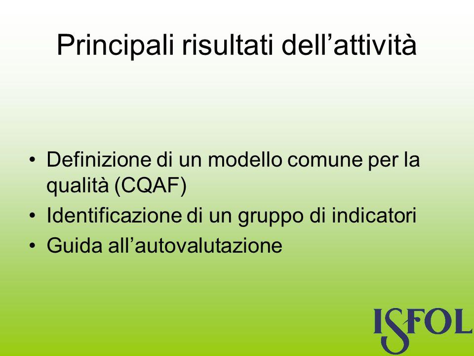 Principali risultati dellattività Definizione di un modello comune per la qualità (CQAF) Identificazione di un gruppo di indicatori Guida allautovalutazione