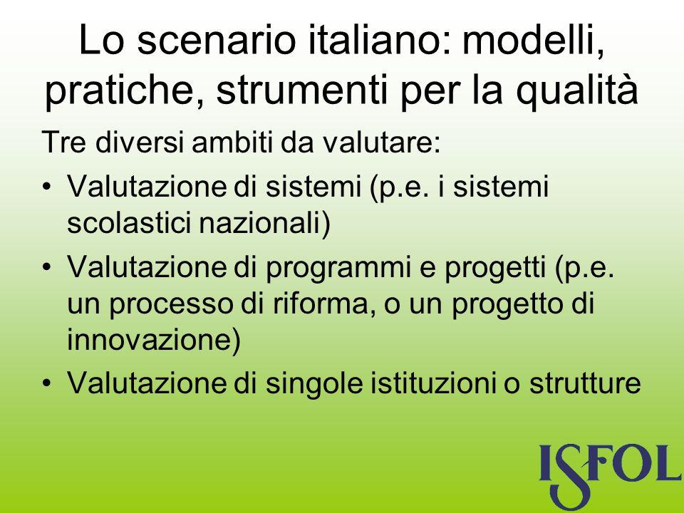 Lo scenario italiano: modelli, pratiche, strumenti per la qualità Tre diversi ambiti da valutare: Valutazione di sistemi (p.e.