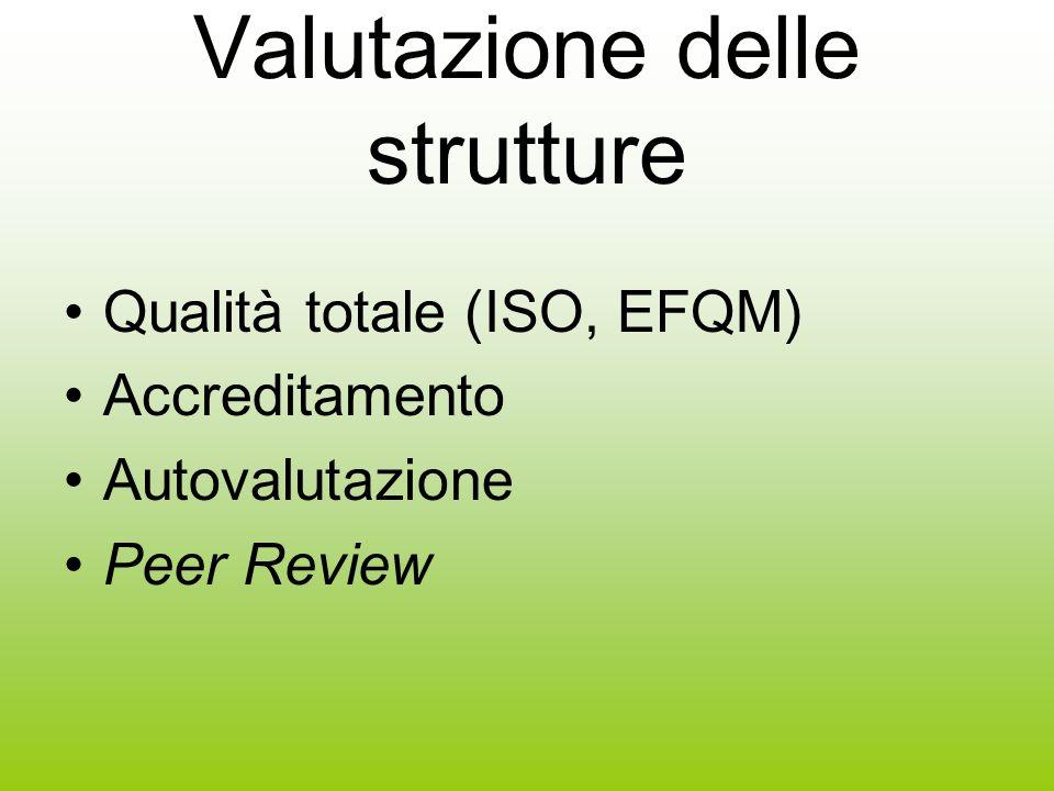 Valutazione delle strutture Qualità totale (ISO, EFQM) Accreditamento Autovalutazione Peer Review
