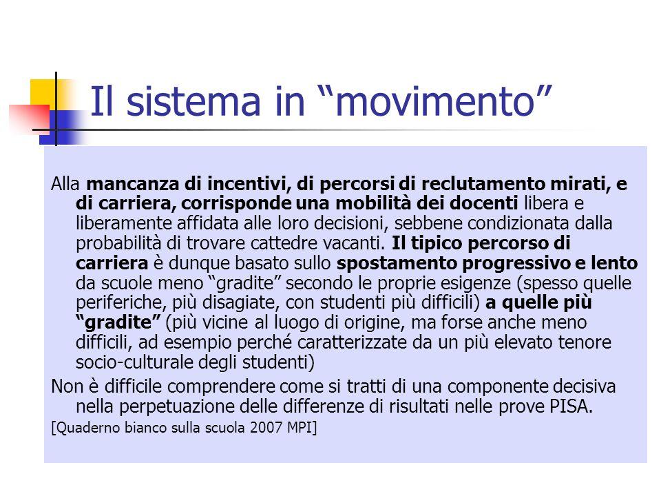 Il sistema in movimento Alla mancanza di incentivi, di percorsi di reclutamento mirati, e di carriera, corrisponde una mobilità dei docenti libera e l