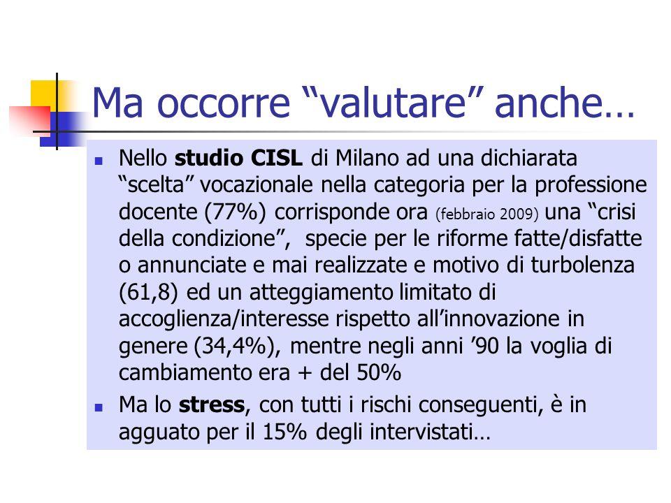 Ma occorre valutare anche… Nello studio CISL di Milano ad una dichiarata scelta vocazionale nella categoria per la professione docente (77%) corrispon