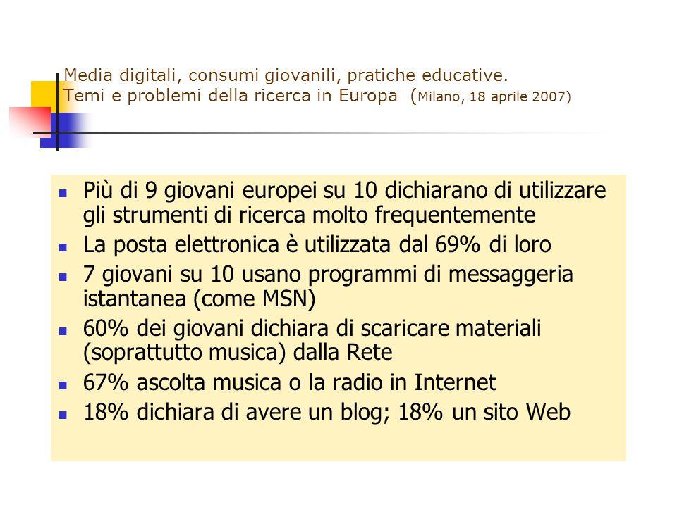 Media digitali, consumi giovanili, pratiche educative. Temi e problemi della ricerca in Europa ( Milano, 18 aprile 2007) Più di 9 giovani europei su 1
