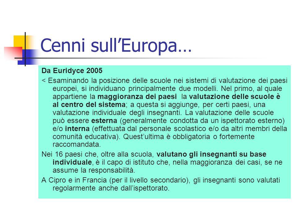 Cenni sullEuropa… Da Euridyce 2005 < Esaminando la posizione delle scuole nei sistemi di valutazione dei paesi europei, si individuano principalmente