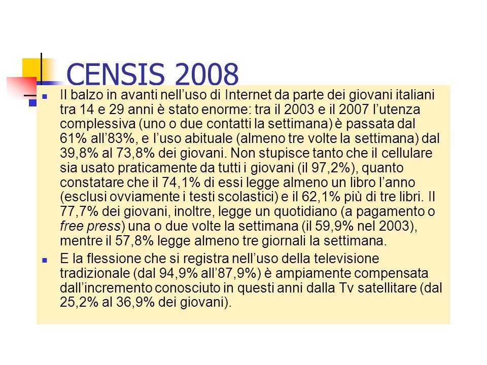 CENSIS 2008 Il balzo in avanti nelluso di Internet da parte dei giovani italiani tra 14 e 29 anni è stato enorme: tra il 2003 e il 2007 lutenza comple