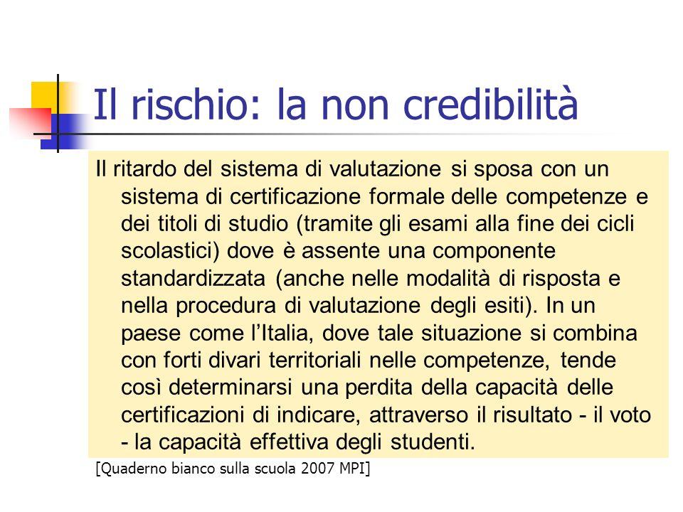 Il rischio: la non credibilità Il ritardo del sistema di valutazione si sposa con un sistema di certificazione formale delle competenze e dei titoli d