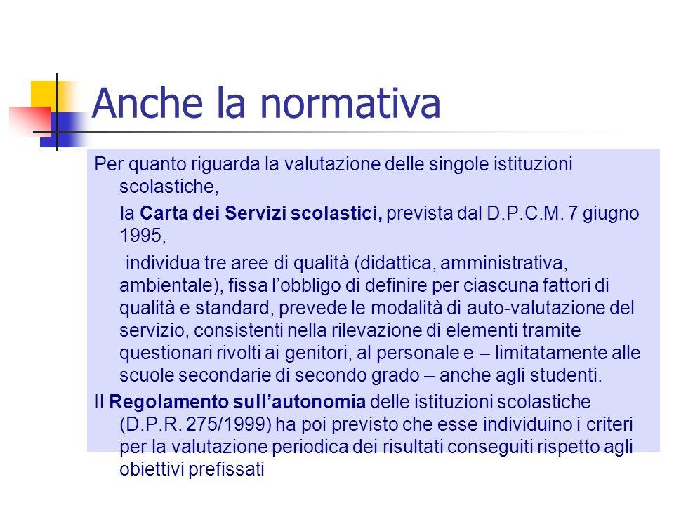 Anche la normativa Per quanto riguarda la valutazione delle singole istituzioni scolastiche, la Carta dei Servizi scolastici, prevista dal D.P.C.M. 7
