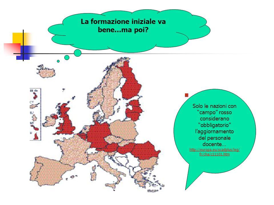 Solo le nazioni con campo rosso considerano obbligatorio laggiornamento del personale docente… http://europa.eu/scadplus/leg/ fr/cha/c11101.htm La for