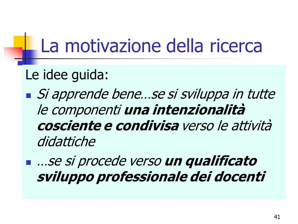 La motivazione della ricerca Le idee guida: Si apprende bene…se si sviluppa in tutte le componenti una intenzionalità cosciente e condivisa verso le a