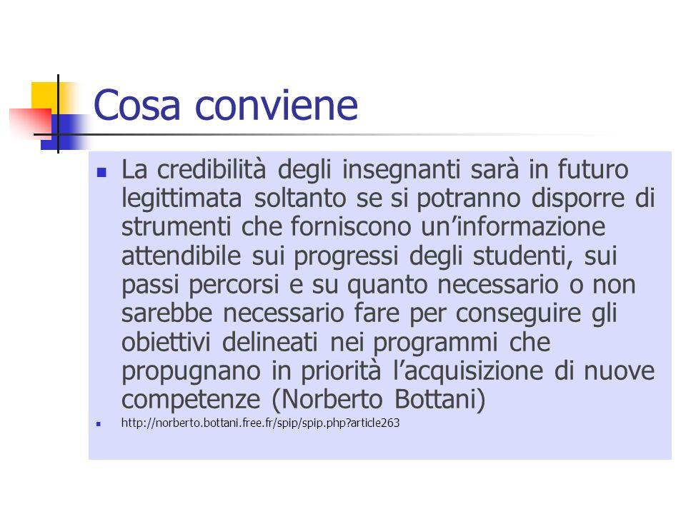 Cosa conviene La credibilità degli insegnanti sarà in futuro legittimata soltanto se si potranno disporre di strumenti che forniscono uninformazione a