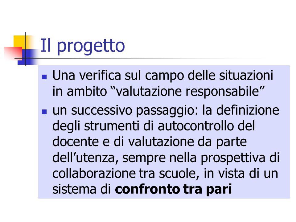 Il progetto Una verifica sul campo delle situazioni in ambito valutazione responsabile un successivo passaggio: la definizione degli strumenti di auto