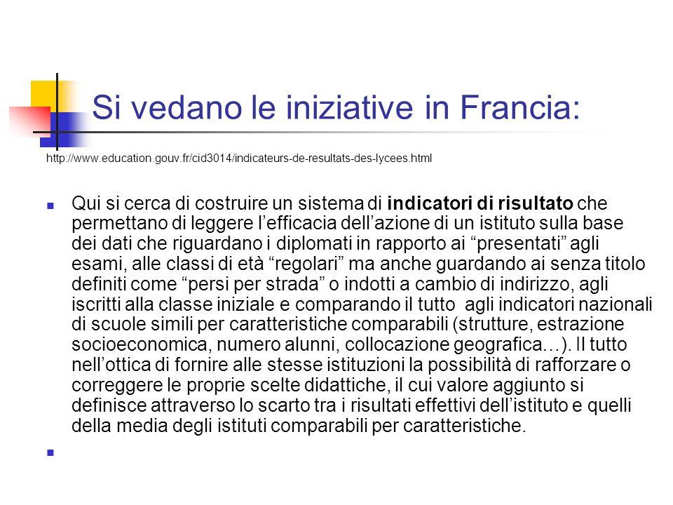 Si vedano le iniziative in Francia: http://www.education.gouv.fr/cid3014/indicateurs-de-resultats-des-lycees.html Qui si cerca di costruire un sistema