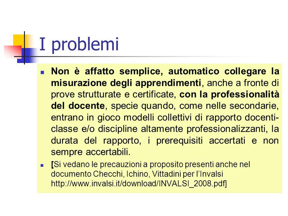 I problemi Non è affatto semplice, automatico collegare la misurazione degli apprendimenti, anche a fronte di prove strutturate e certificate, con la