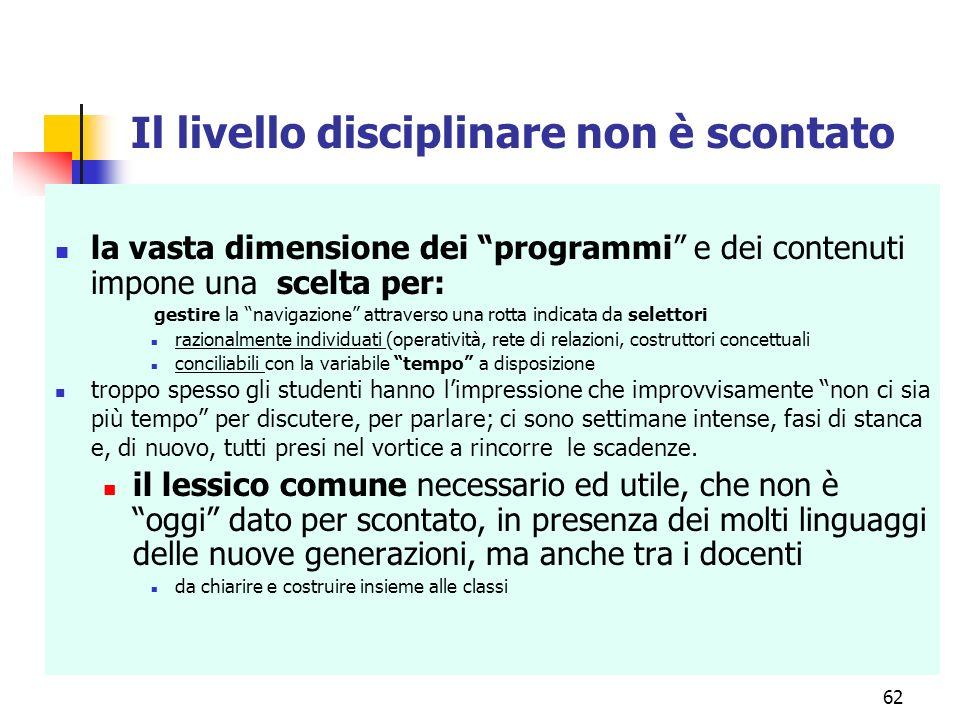 Il livello disciplinare non è scontato la vasta dimensione dei programmi e dei contenuti impone una scelta per: gestire la navigazione attraverso una
