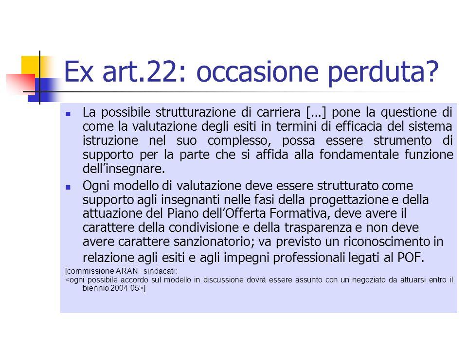 Ex art.22: occasione perduta? La possibile strutturazione di carriera […] pone la questione di come la valutazione degli esiti in termini di efficacia