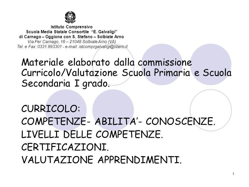 1 Materiale elaborato dalla commissione Curricolo/Valutazione Scuola Primaria e Scuola Secondaria I grado.
