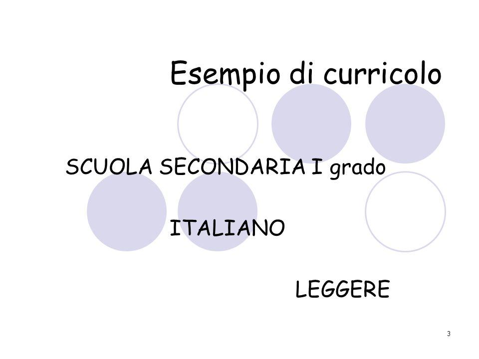 3 Esempio di curricolo SCUOLA SECONDARIA I grado ITALIANO LEGGERE