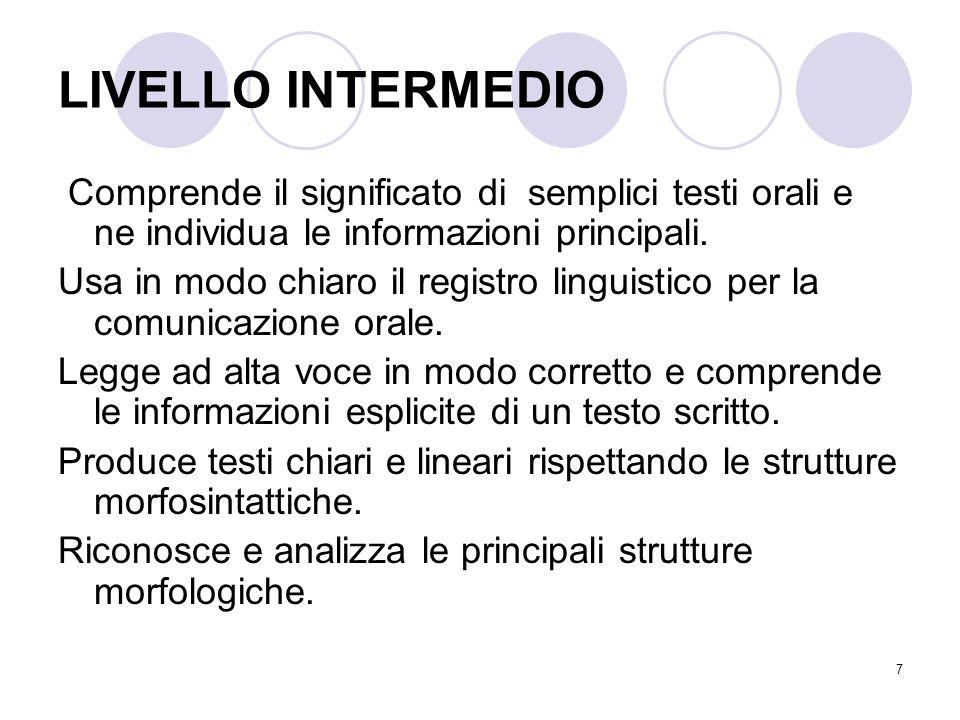 7 LIVELLO INTERMEDIO Comprende il significato di semplici testi orali e ne individua le informazioni principali.