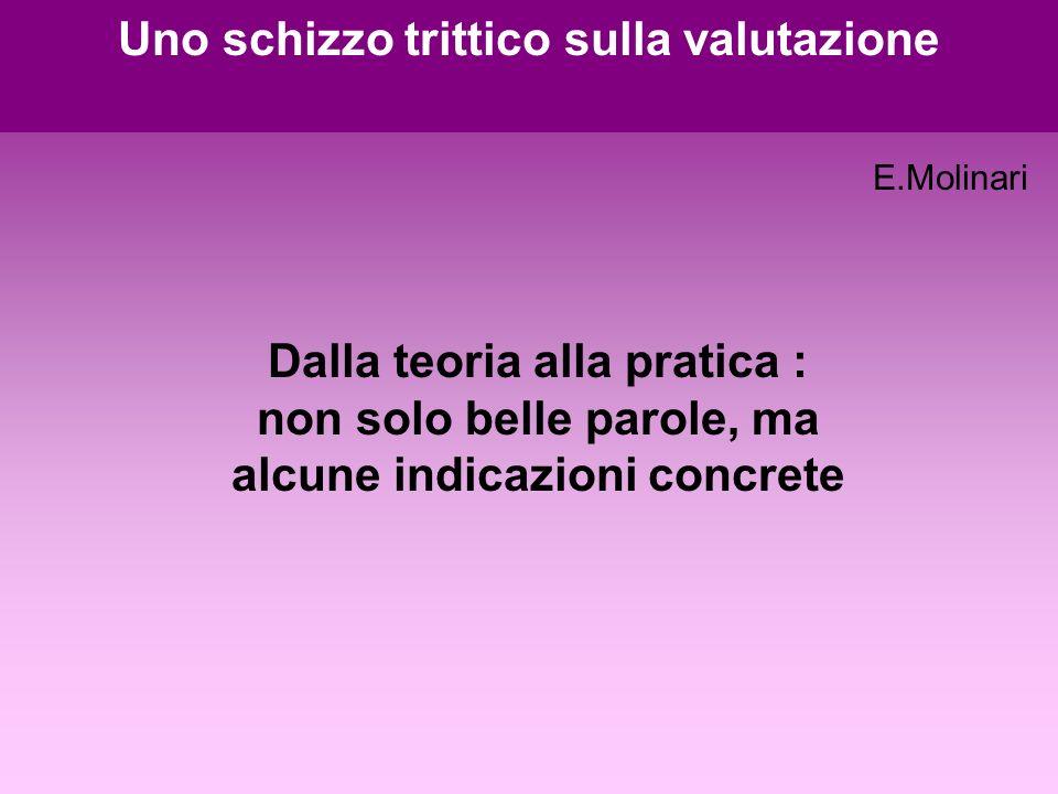 Dalla teoria alla pratica : non solo belle parole, ma alcune indicazioni concrete Uno schizzo trittico sulla valutazione E.Molinari