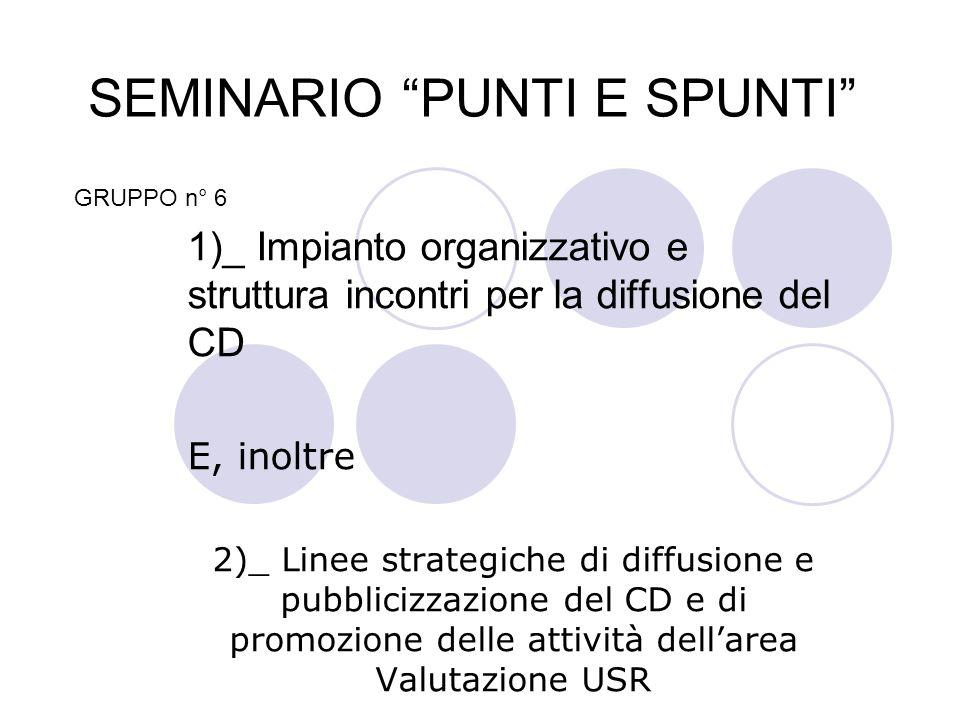 SEMINARIO PUNTI E SPUNTI 1)_ Impianto organizzativo e struttura incontri per la diffusione del CD E, inoltre 2)_ Linee strategiche di diffusione e pub