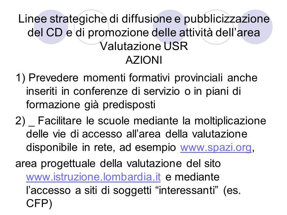 Linee strategiche di diffusione e pubblicizzazione del CD e di promozione delle attività dellarea Valutazione USR AZIONI 1) Prevedere momenti formativ
