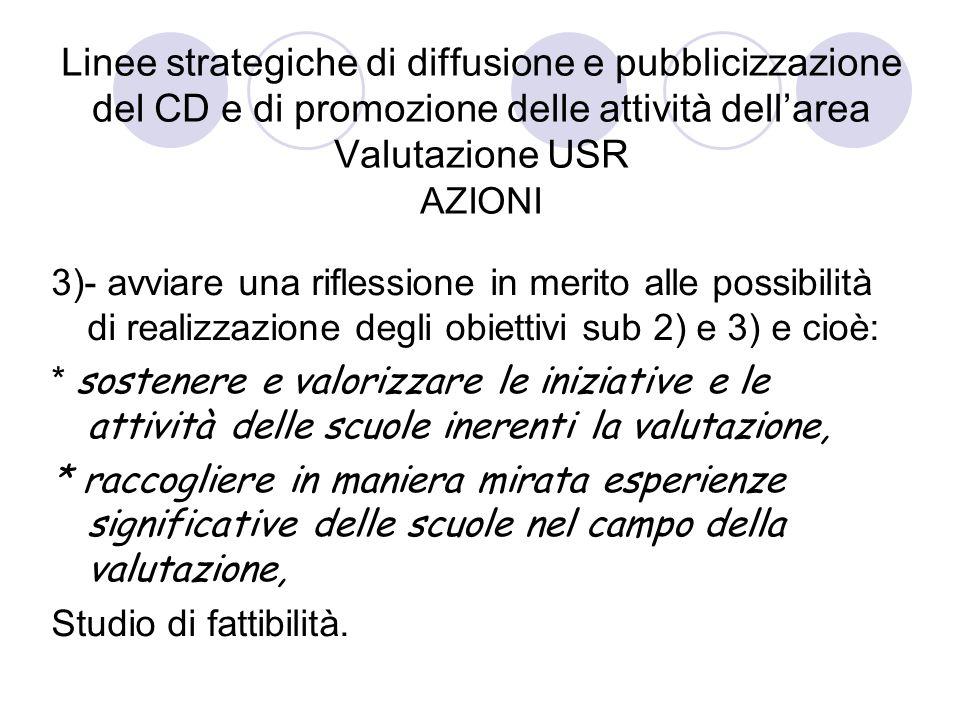 Linee strategiche di diffusione e pubblicizzazione del CD e di promozione delle attività dellarea Valutazione USR AZIONI 3)- avviare una riflessione i