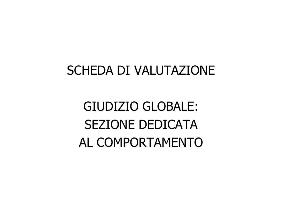 SCHEDA DI VALUTAZIONE GIUDIZIO GLOBALE: SEZIONE DEDICATA AL COMPORTAMENTO