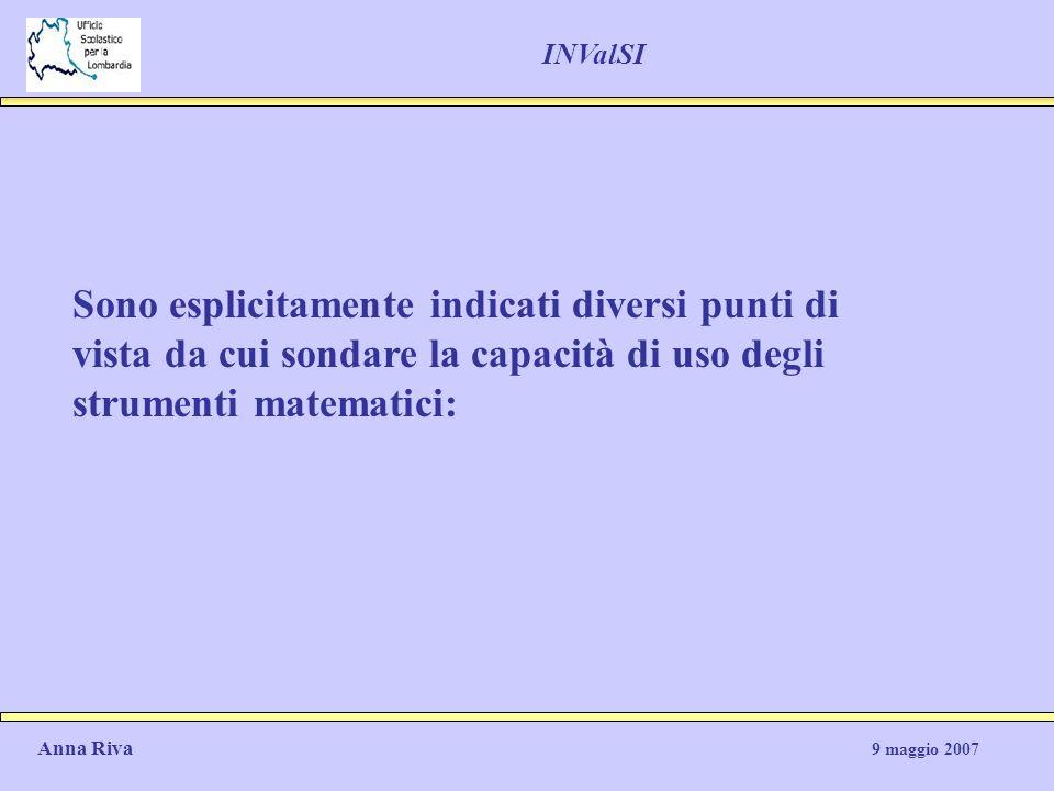 Sono esplicitamente indicati diversi punti di vista da cui sondare la capacità di uso degli strumenti matematici: Anna Riva 9 maggio 2007 INValSI