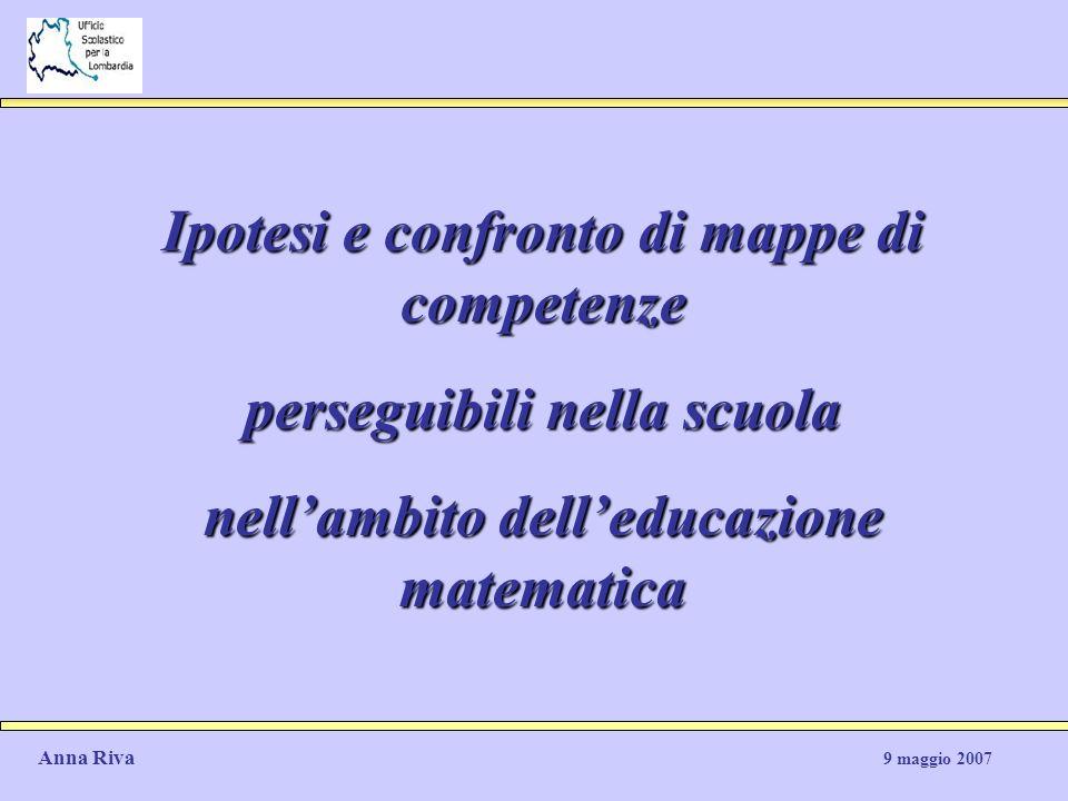 Ipotesi e confronto di mappe di competenze perseguibili nella scuola nellambito delleducazione matematica