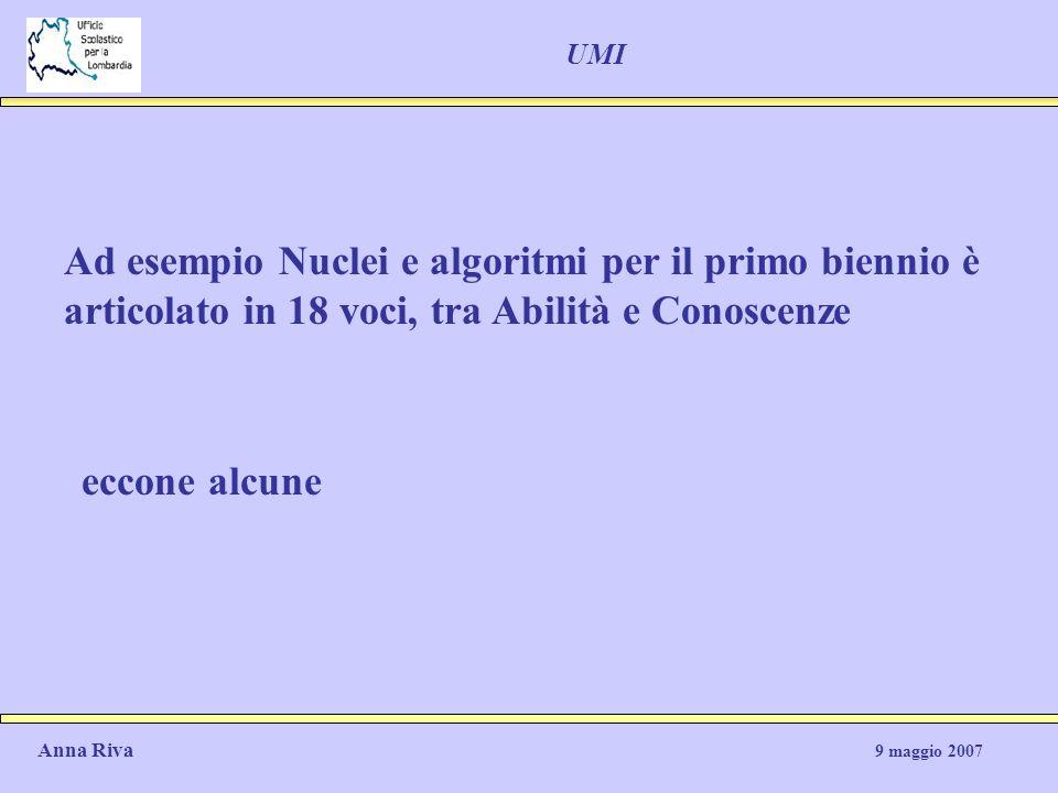 UMI Ad esempio Nuclei e algoritmi per il primo biennio è articolato in 18 voci, tra Abilità e Conoscenze eccone alcune Anna Riva 9 maggio 2007