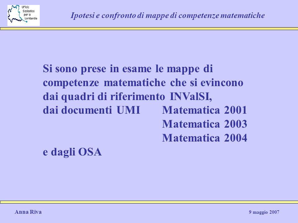 Anna Riva 9 maggio 2007 Ipotesi e confronto di mappe di competenze matematiche Si sono prese in esame le mappe di competenze matematiche che si evinco