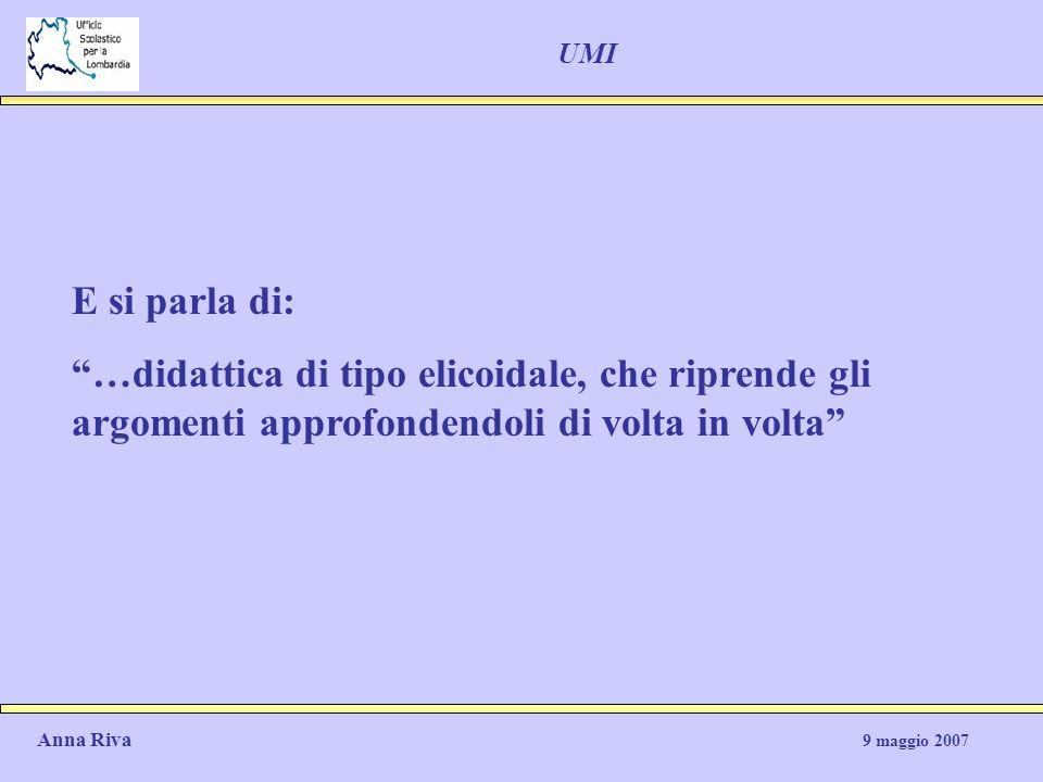 UMI E si parla di: …didattica di tipo elicoidale, che riprende gli argomenti approfondendoli di volta in volta Anna Riva 9 maggio 2007