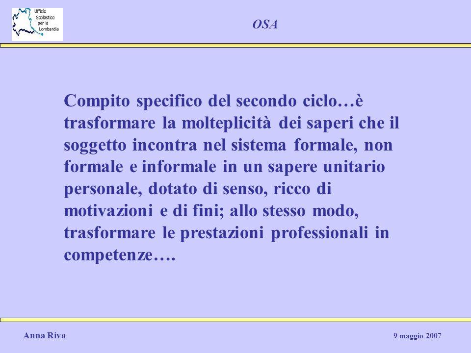 Anna Riva 9 maggio 2007 OSA Compito specifico del secondo ciclo…è trasformare la molteplicità dei saperi che il soggetto incontra nel sistema formale,