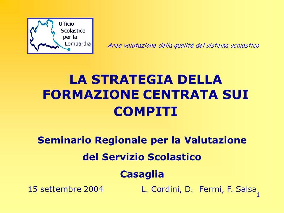 1 LA STRATEGIA DELLA FORMAZIONE CENTRATA SUI COMPITI Seminario Regionale per la Valutazione del Servizio Scolastico Casaglia 15 settembre 2004L. Cordi