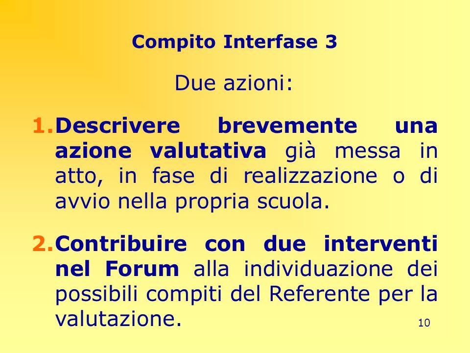 10 Compito Interfase 3 Due azioni: 1.Descrivere brevemente una azione valutativa già messa in atto, in fase di realizzazione o di avvio nella propria