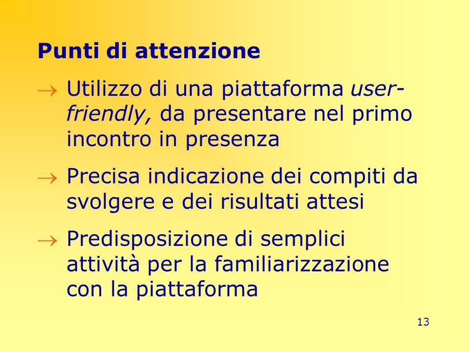 13 Punti di attenzione Utilizzo di una piattaforma user- friendly, da presentare nel primo incontro in presenza Precisa indicazione dei compiti da svo