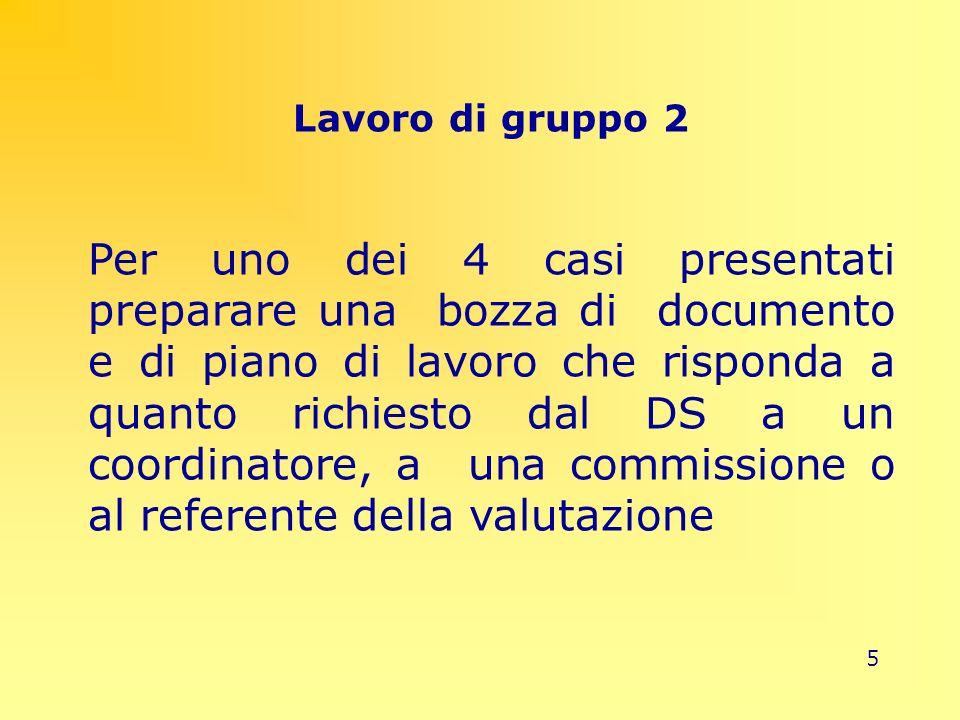 5 Lavoro di gruppo 2 Per uno dei 4 casi presentati preparare una bozza di documento e di piano di lavoro che risponda a quanto richiesto dal DS a un c