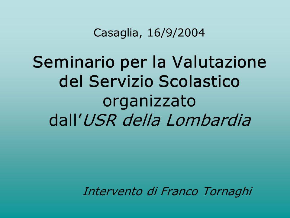 Casaglia, 16/9/2004 Seminario per la Valutazione del Servizio Scolastico organizzato dallUSR della Lombardia Intervento di Franco Tornaghi