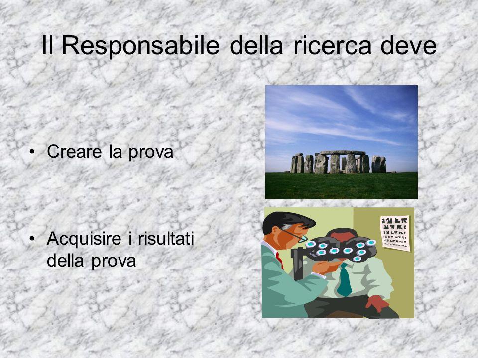 Il Responsabile della ricerca deve Creare la prova Acquisire i risultati della prova