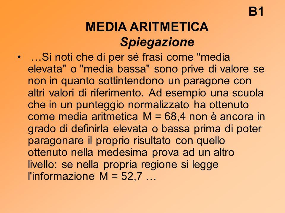 B1 MEDIA ARITMETICA Spiegazione …Si noti che di per sé frasi come media elevata o media bassa sono prive di valore se non in quanto sottintendono un paragone con altri valori di riferimento.